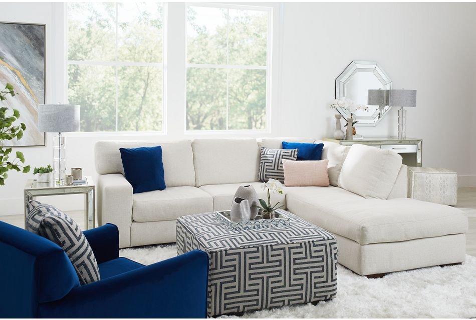 Veronica White Down Right Bumper Sectional,  (2)