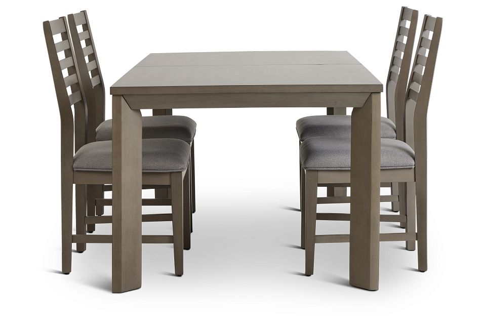 Zurich Gray Rect Table & 4 Slat Chairs,  (3)