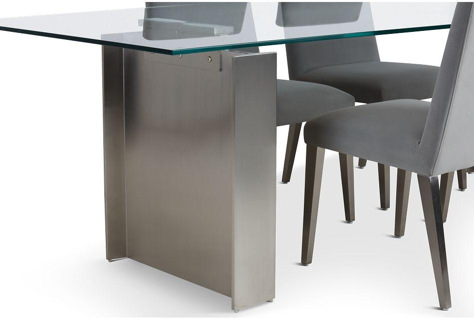 "Omnia Glass 104"" Rectangular Table & 4 Metal Chairs"