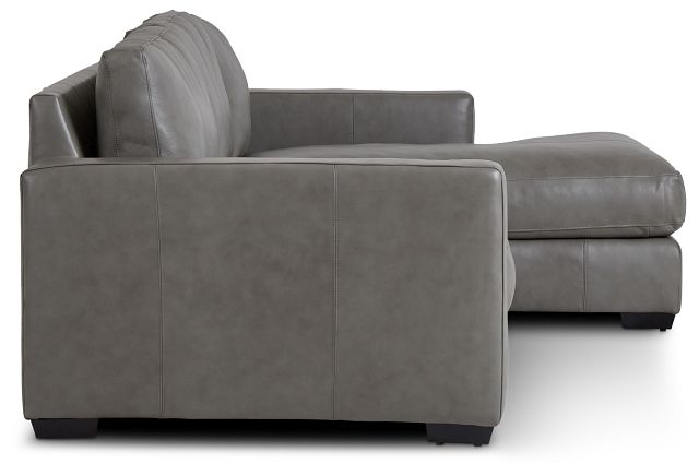 Dawkins Gray Leather Right Chaise Sectional (1)