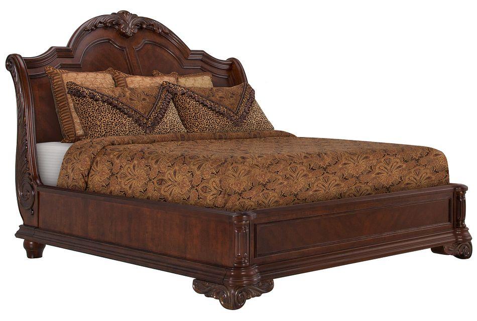 Regal Dark Tone Wood Platform Bed