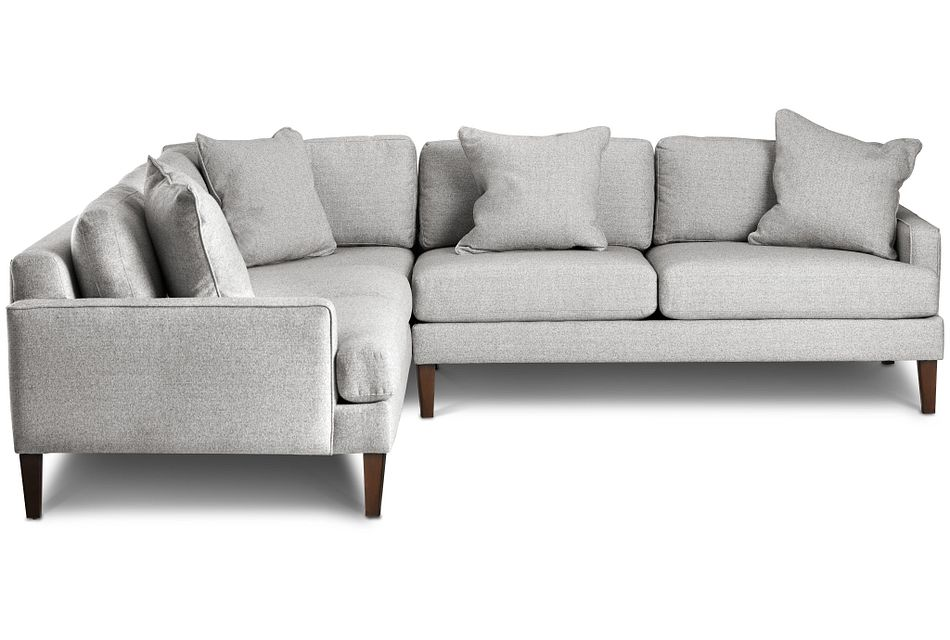Morgan Light Gray Fabric Small Right 2-arm Sectional W/ Wood Legs