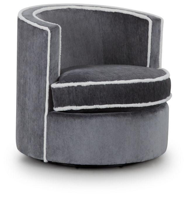 Fleur Dark Gray Fabric Swivel Chair (1)