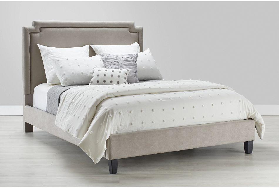 Whitney Light Gray  Uph Platform Bed