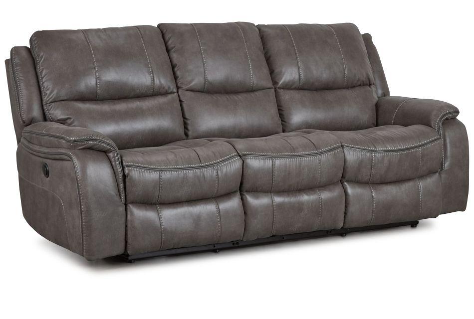 Dober Dark Gray Micro Power Reclining Sofa,  (2)