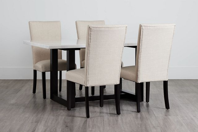 Paloma White Marble Rectangular Table & 4 Upholstered Chairs (0)