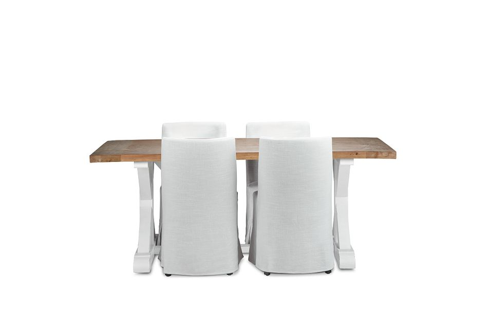 "Hilton Two-tone 79"" Table & 4 Skirted Chairs"