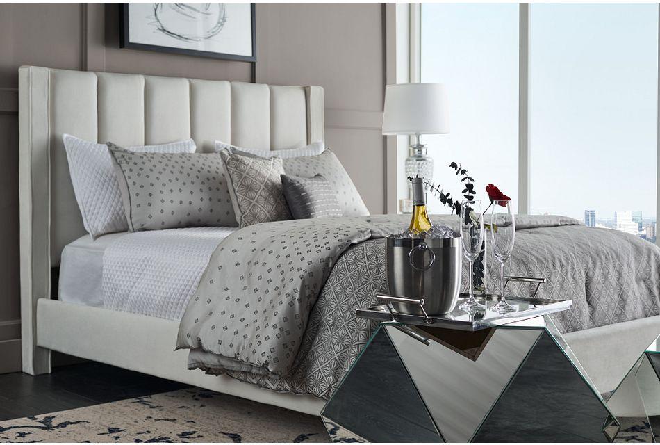 Audrey Beige Velvet Platform Bed, %%bed_Size%% (2)