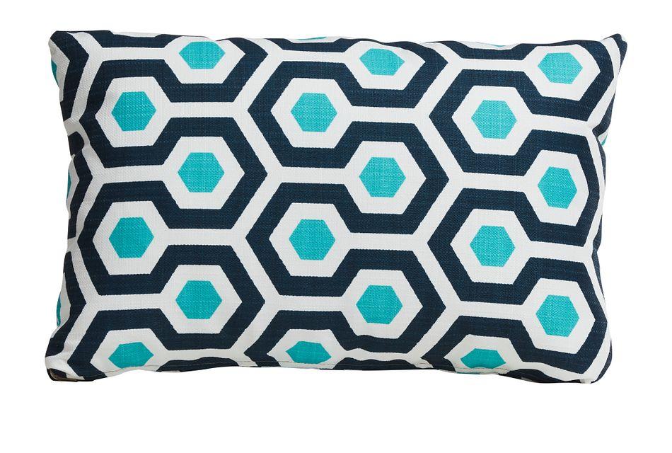 Magna Dark Blue Lumbar Indoor/outdoor Accent Pillow