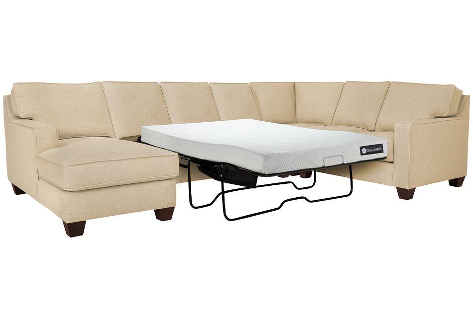 York Beige Cool Mfoam Left Chaise Memory Foam Sleeper Sectional