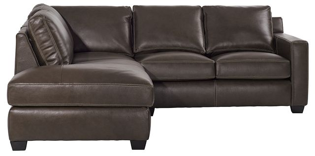 Carson Dark Brown Leather Left Bumper Sectional (2)
