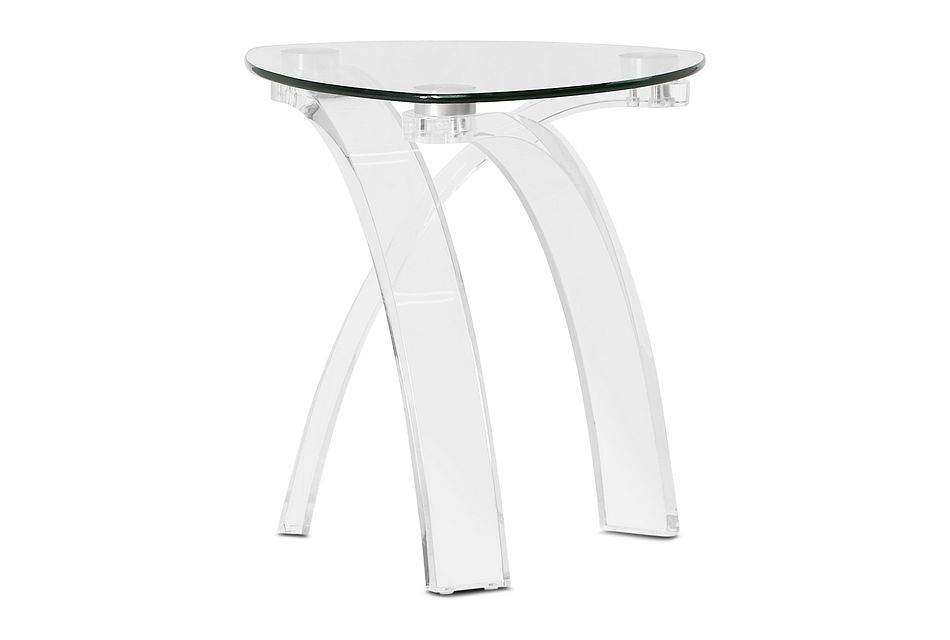 Cannes Glass Triangular End Table