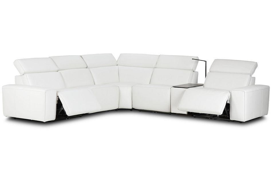 Carmelo White Leather Medium Dual Power 2-arm Reclining Sectional