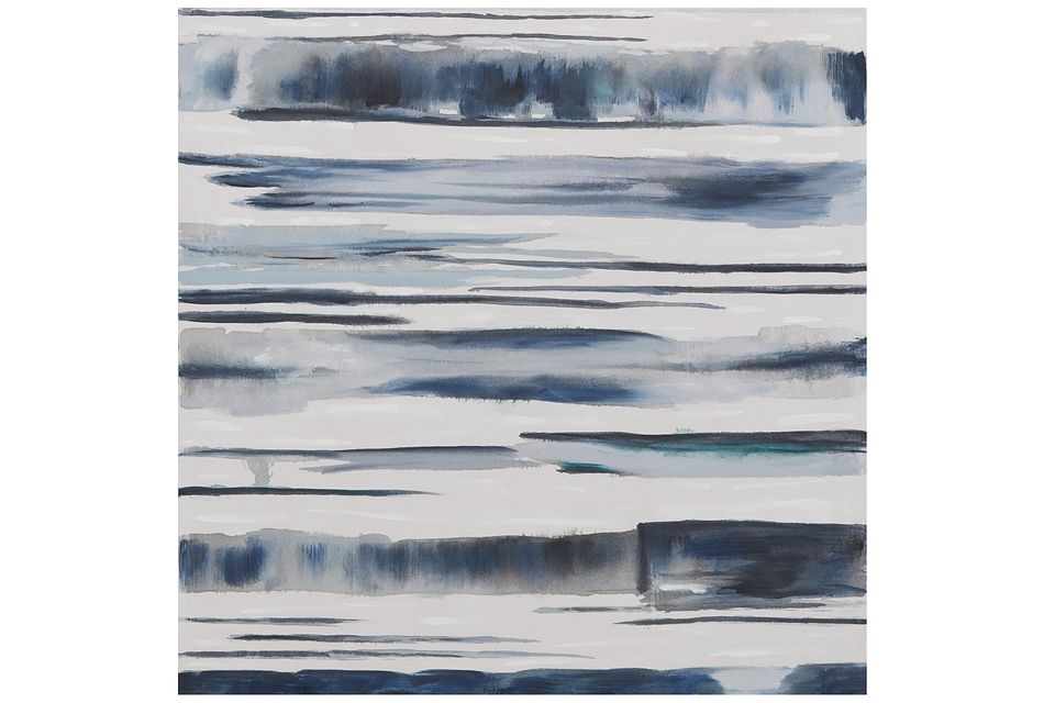 Aqua Dark Blue Framed Canvas Wall Art