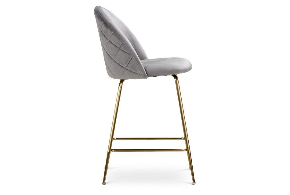 """Capri Gray Upholstered 24"""" Barstools W/gold Legs"""