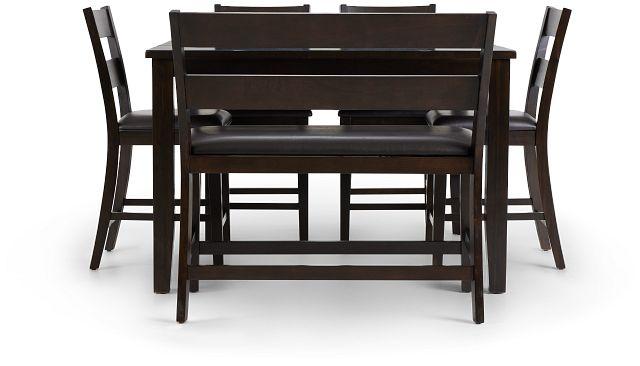 Navarro Dark Tone High Table, 4 Barstools & High Bench (3)