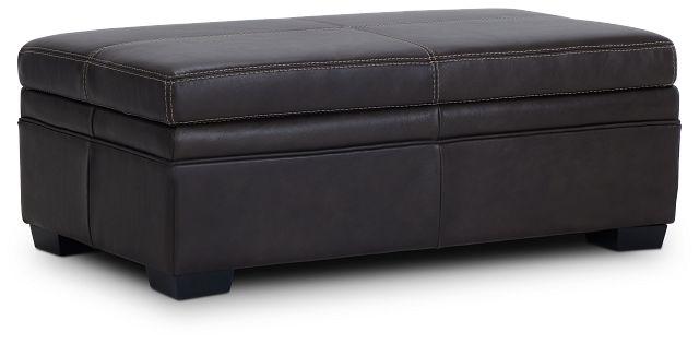 Carson Dark Brown Leather Storage Ottoman
