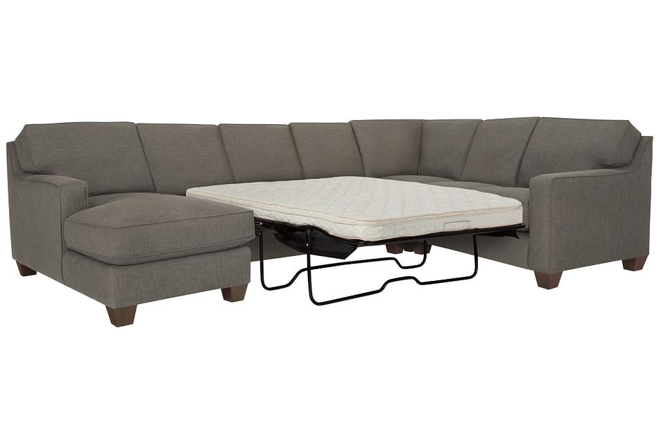 York Dark Gray  FABRIC Left Chaise Innerspring Sleeper Sectional