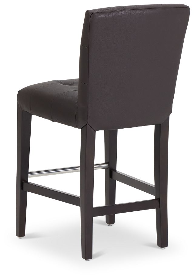 "Shelby Dark Brown Micro 24"" Upholstered Barstool"