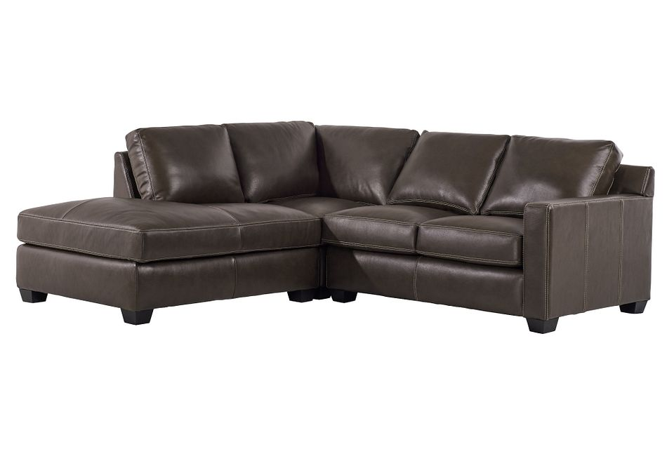 Carson Dark Brown Leather Left Bumper Sectional