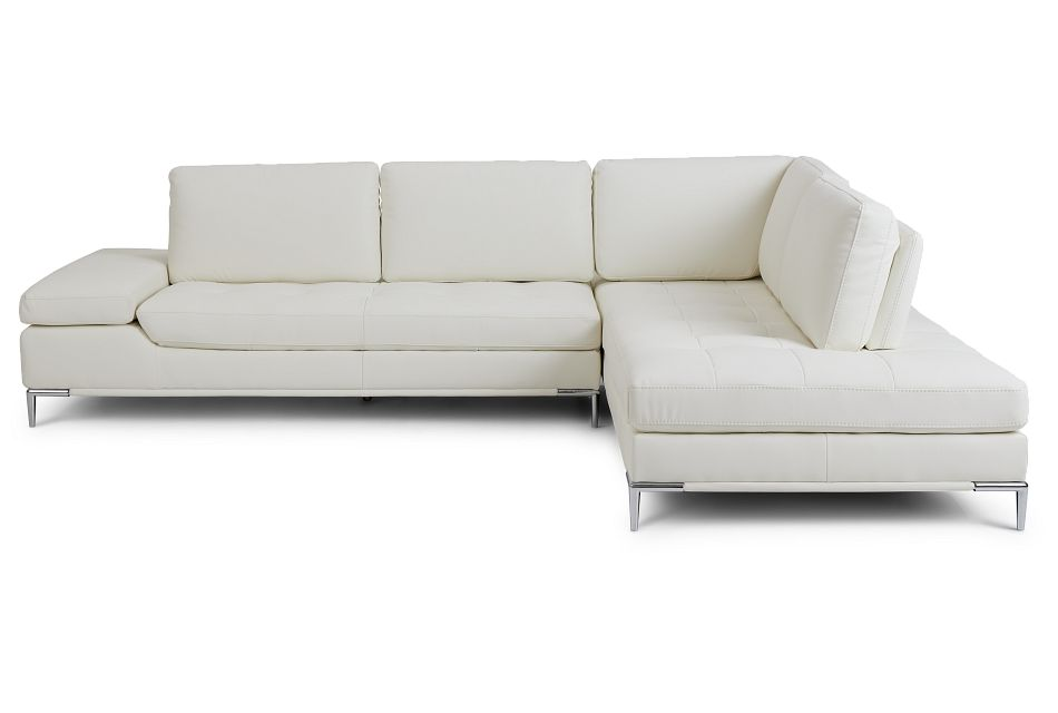 Camden White Micro Right Chaise Sectional
