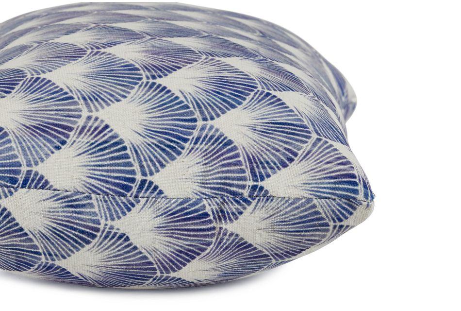Shell Blue Fabric Lumbar Accent Pillow,  (2)