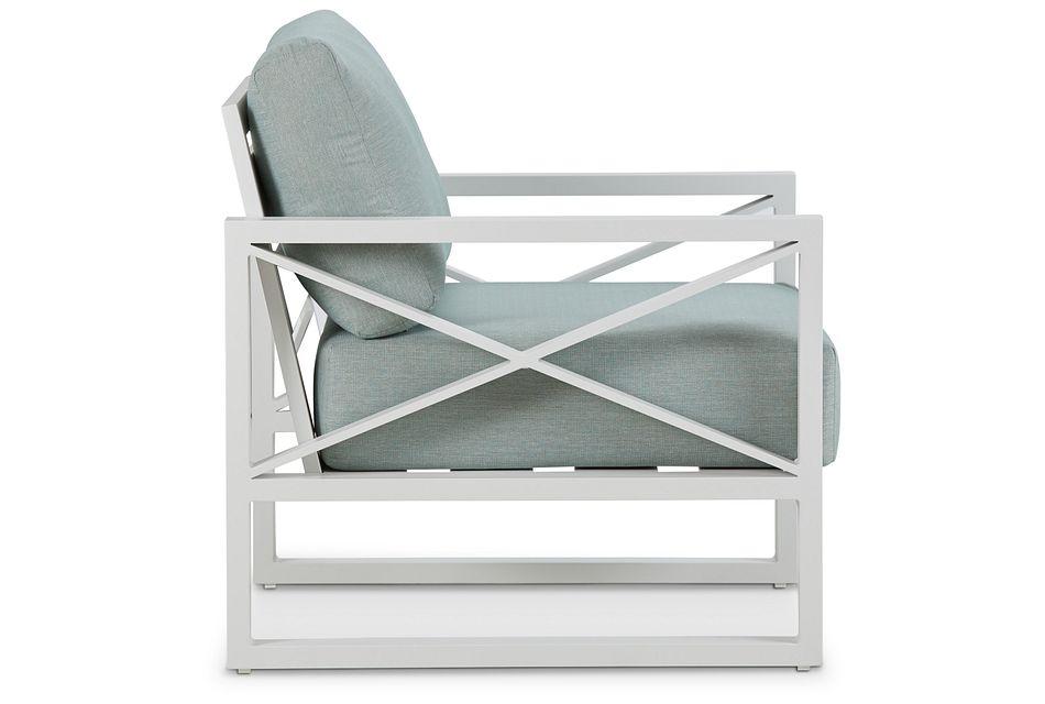 Linear White Teal Aluminum Chair