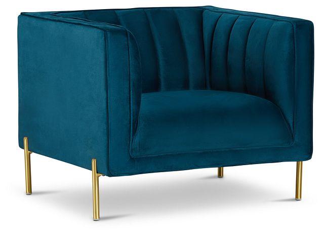 Bella Dark Blue Velvet Chair (1)