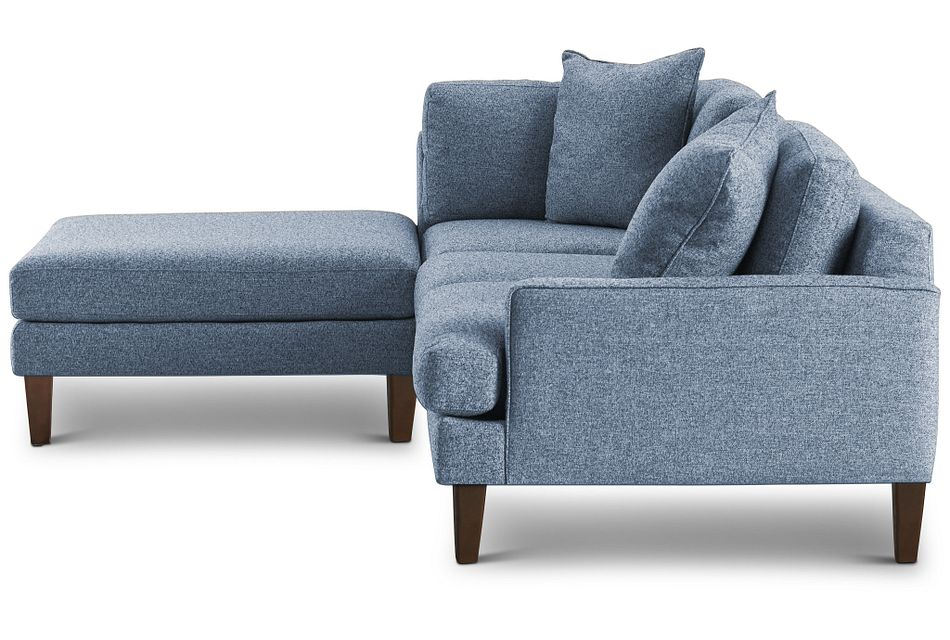 Morgan Blue Fabric Small Right Bumper Sectional W/ Wood Legs