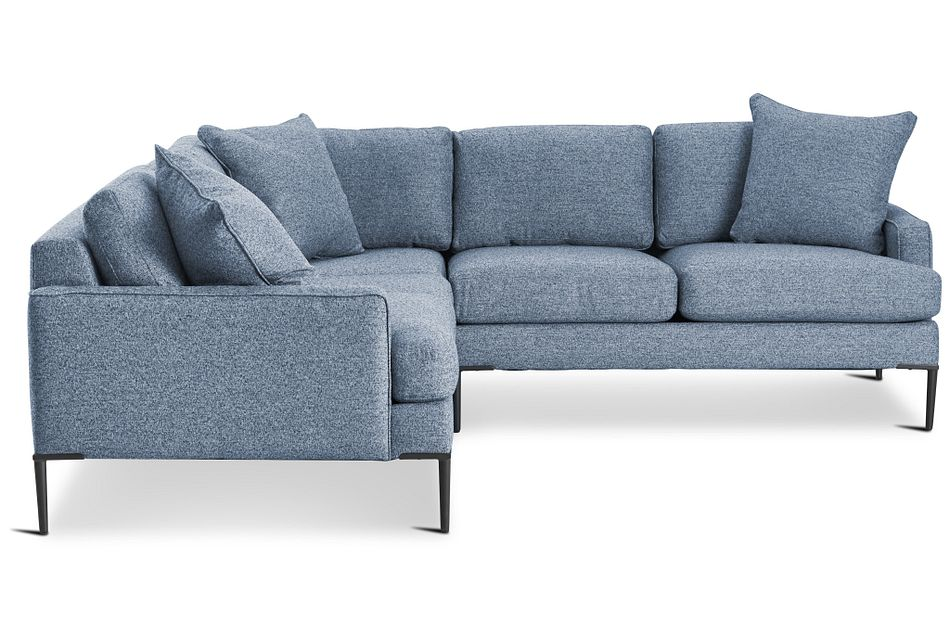 Morgan Blue Fabric Small Left 2-arm Sectional W/ Metal Legs