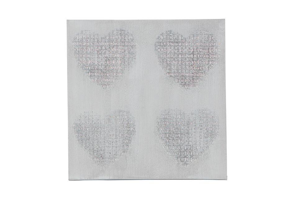 Heart Silver Canvas Wall Art