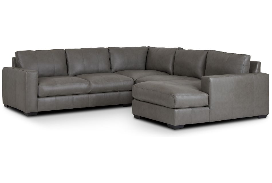 Dawkins Gray Leather Medium Right Chaise Sectional,  (0)