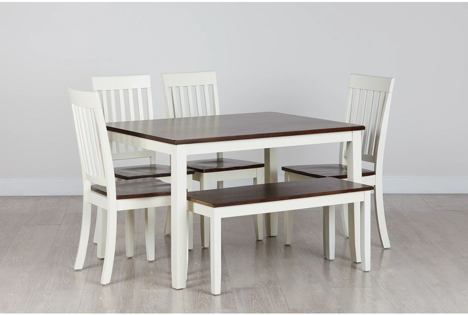 Santos WHITE TWO-TONE Table, 4 Chairs & Bench,  (0)