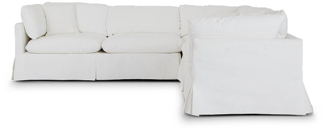 Raegan White Fabric Small Two-arm Sectional (3)