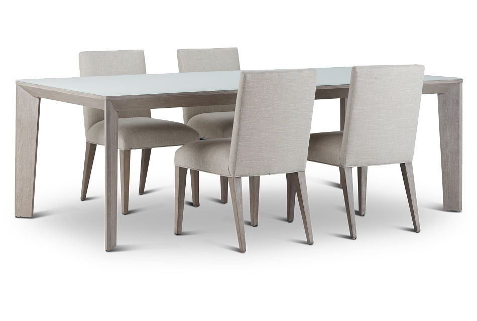 Rio Glass Rect Table & 4 Upholstered Chairs