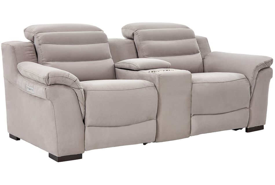 Sentinel Light Gray Micro Power Reclining Console Loveseat