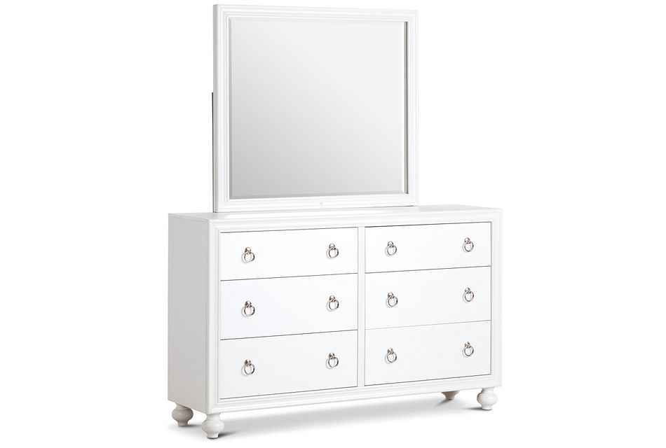 Isabella White Youth Dresser & Mirror
