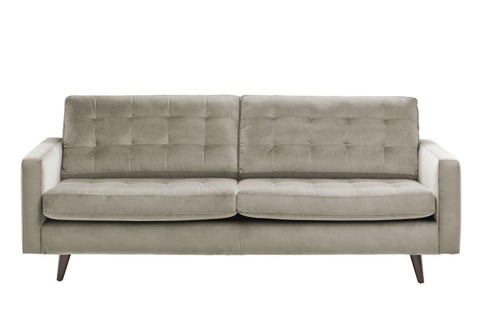 Mila Beige Velvet Sofa