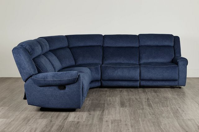 Beckett Dark Blue Micro Small Two-arm Manually Reclining Sectional (0)