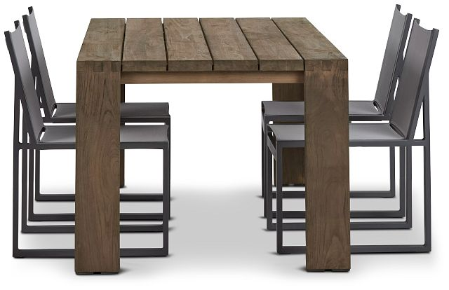 """Linear 70"""" Teak Table & 4 Sling Side Chairs (1)"""