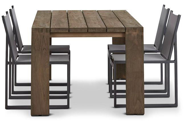 """Linear 70"""" Teak Table & 4 Sling Side Chairs"""