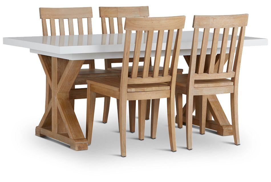 Nantucket Two-Tone White Trestle Table & 4 Light Tone Chairs,  (2)