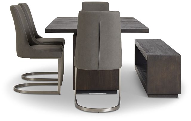 Madden Dark Tone Table, 4 Chairs & Bench (2)