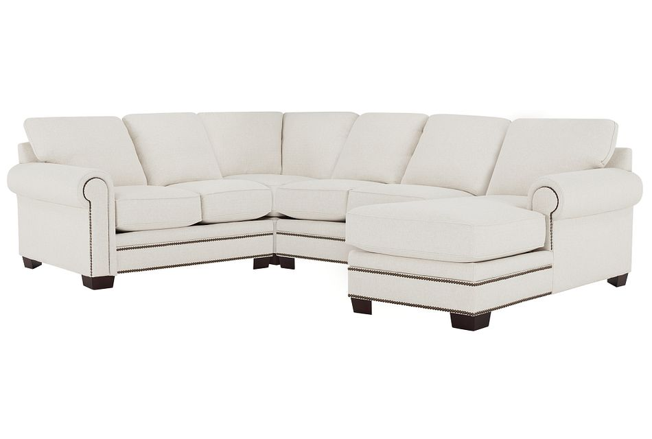 Foster White Fabric Medium Right Chaise Sectional