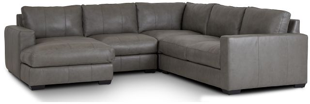 Dawkins Gray Leather Medium Left Chaise Sectional (0)