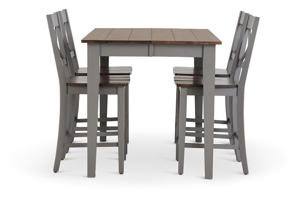 Sumter Gray High Table & 4 Barstools,  (2)