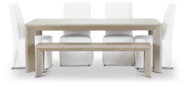 """Destination Light Tone 84"""" Table, 4 Chairs & Bench (2)"""