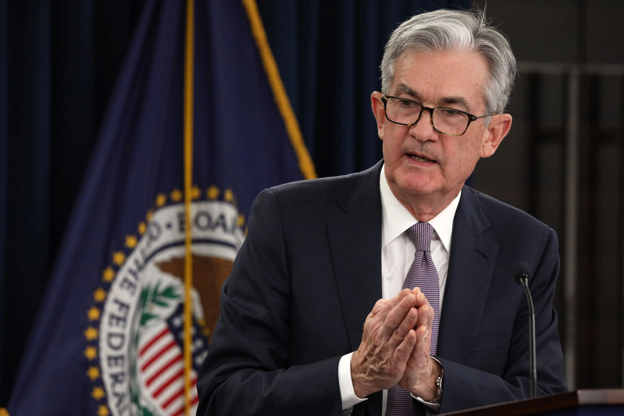 Jerome Powell, chairman of the U.S. Federal Reserve, speaks during a news conference earlier this year. (Getty Images)