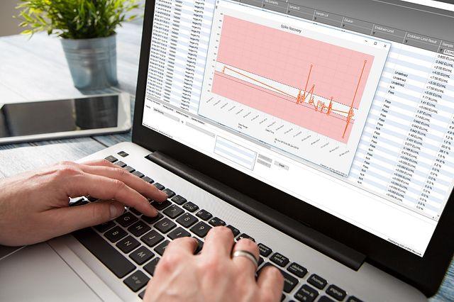 科学家在计算机上使用 Cortex 内毒素检测数据跟踪和趋势化软件