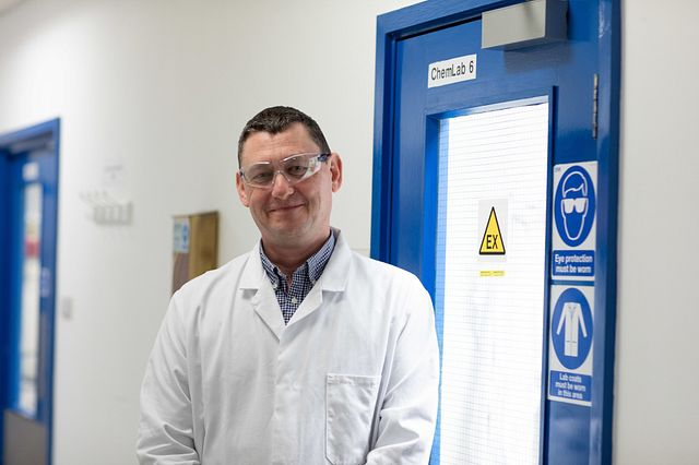Image of Russell Scammell, a pharmaceutical scientists who triages compounds for stability, solubility, and formulation to progress a compound through drug development.